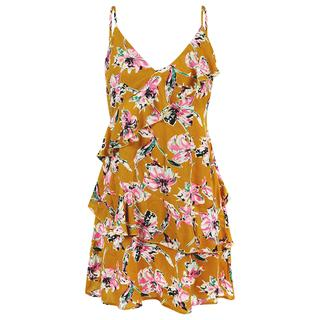 Gele jurk met spaghettibandjes & bloemenprint