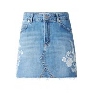 TOPSHOP Korte denim rok met gebloemde borduringen