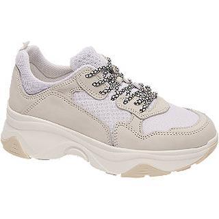 Witte leren chunky sneaker