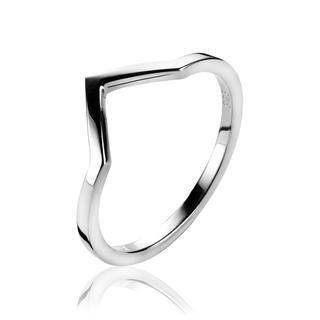 zilveren ring V model glad ZIR1149