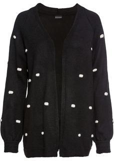 Dames oversized vest lange mouw in zwart