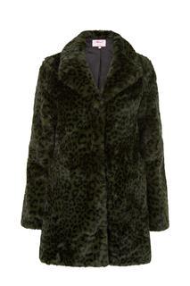 Dames Jas fake fur print zwart Lange mouw