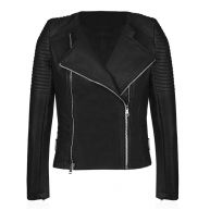 Faux Leather Biker Jacket - Black