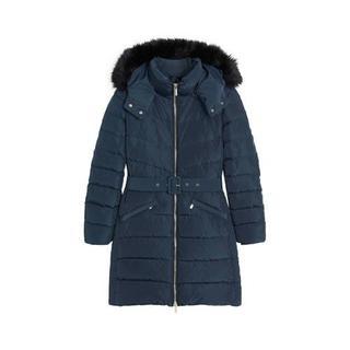 gewatteerde jas met ceintuur donkerblauw