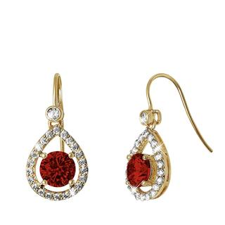 Goldplated oorbellen met ruby zirkonia