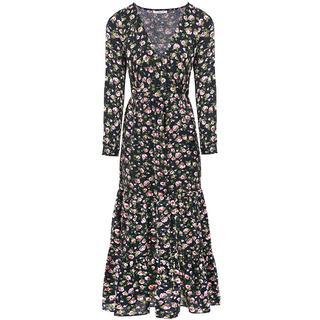 Donkerblauwe lange jurk bloemen