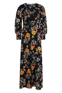 Crochet Trim Tonal Floral Button Front Maxi Dress