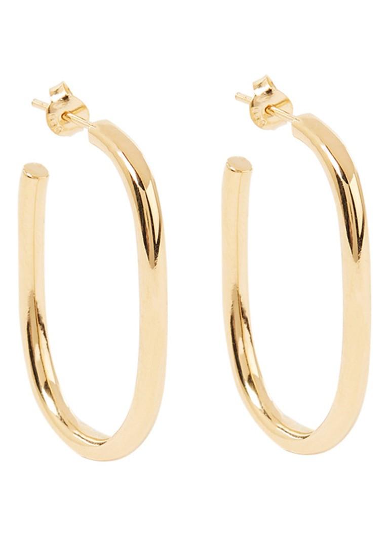 Thick oorstekers van zilver met 14k gouden plating 2-10-628-35