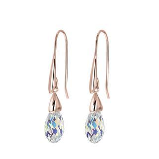 Zilveren oorbellen rose Swarovski kristal AB