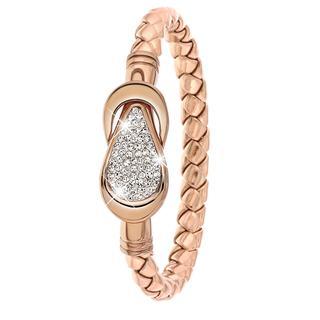 Stalen armband leer rose/roseplated met kristal