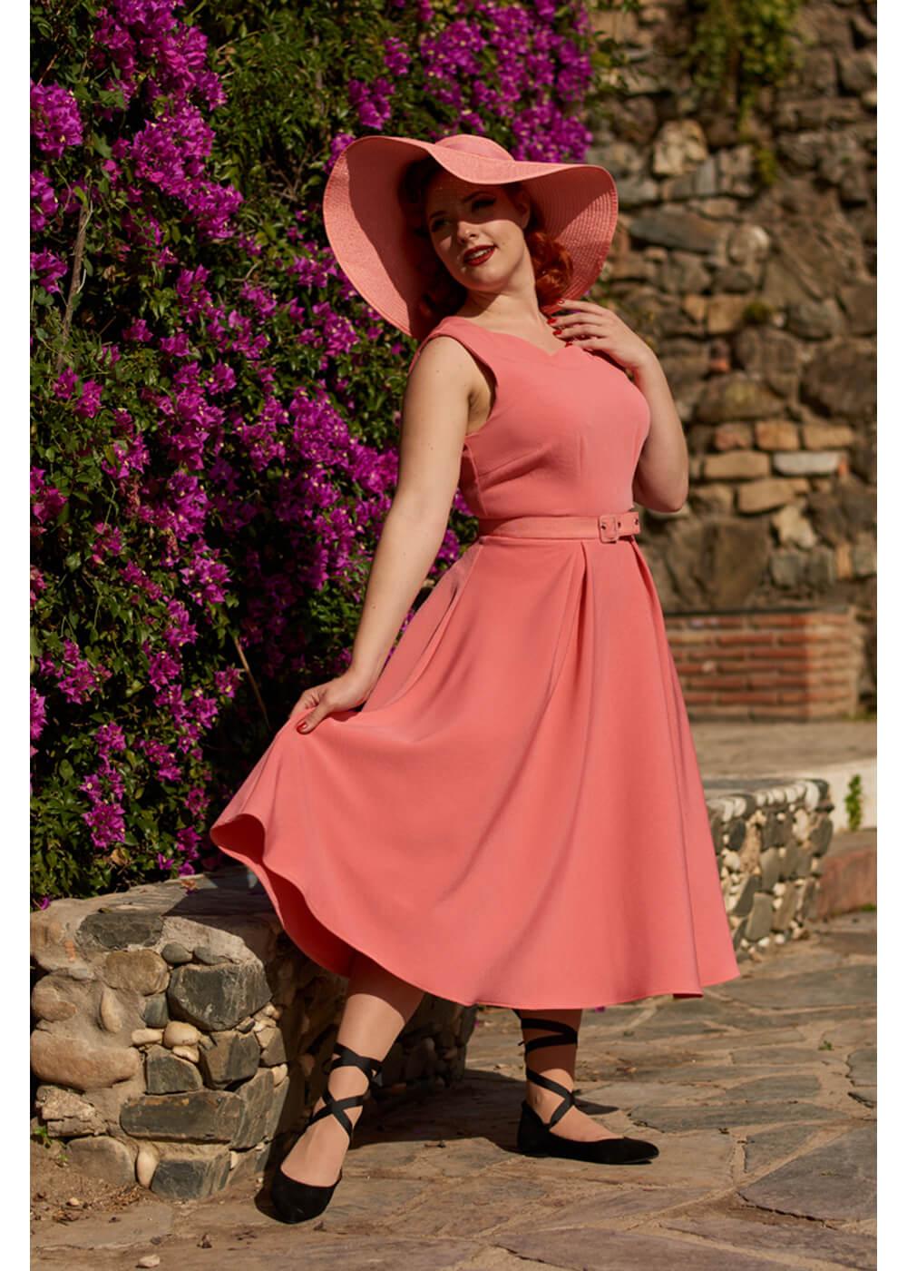 Miss Candyfloss Febe 50's Swing Jurk Roze Outlet Echt e3upGVwZs