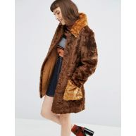 ASOS A line Coat in Faux Fur with Contrast Pockets