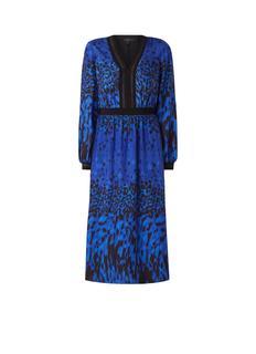 Maryema midi-jurk met contrastbies en luipaarddessin