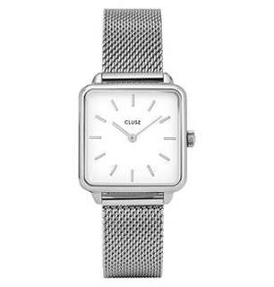La Tétragone horloge zilver mesh