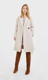 Wollen jas met ceintuur DAMES Vanille L