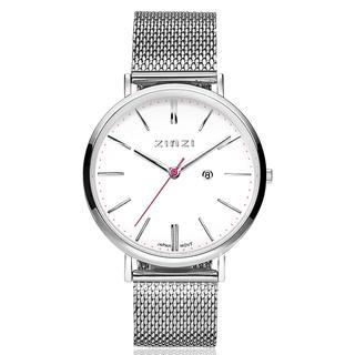Retro horloge witte wijzerplaat stalen kast zilvergekleurd stalen mesh band zilvergekleurd 38mm extra dun ZIW406M