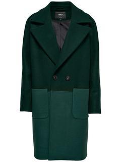 Oversized Wollen Lange Jas Dames Green