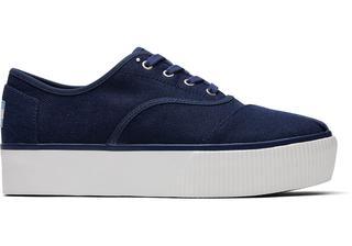 Blauwe Canvas Cordones Boardwalk Platform Sneakers Voor Dames Schoenen