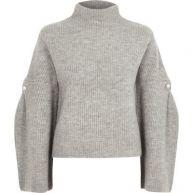 Grijze hoogsluitende gebreide pullover met wijde mouwen