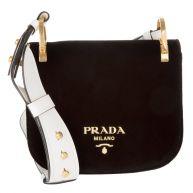 Prada Schoudertassen - Pionniére Bag Velvet Nero/Bianco in zwart voor dames