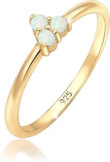 Ringen bandring opaal cirkel geo trio 925 zilver verguld