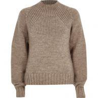 Mink bruine hoogsluitende grofgebreide pullover