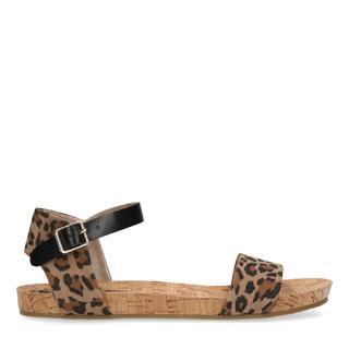 Zwarte sandalen met panterprint