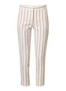 High rise cropped straight fit pantalon met ingeweven streep