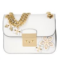 Michael Kors Schoudertassen - Flowers SM Chain Shoulder Bag Leather Optic White in wit voor dames