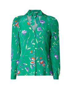 Cosina blouse met bloemendessin en strikkraag