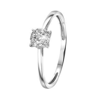 14 Karaat witgouden ring met diamant 0,08ct
