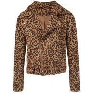 Leopard Biker Jacket - Black/Brown