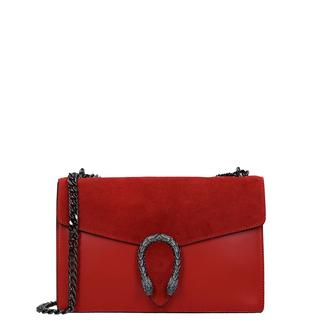 Leather Collection crossbody tas snake M red