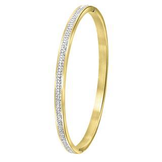 stalen armband bangle goldplated kristal