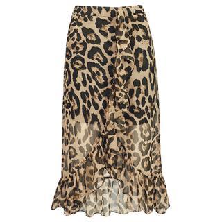 Long Ruffle Leopard Skirt - Brown