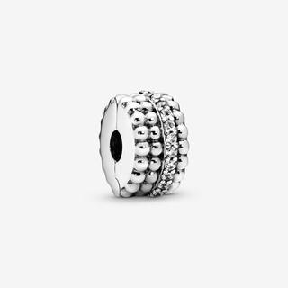 Beaded Clip Bedel, Sieraden uit Sterling zilver, Cubic Zirconia, Clear, 797520CZ