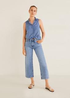 Mouwloze tencel blouse