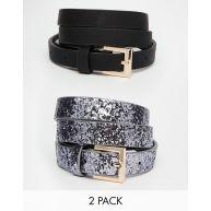 ASOS 2 Pack Glitter And Plain Belts