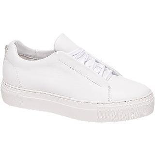 Witte leren sneaker plateauzool