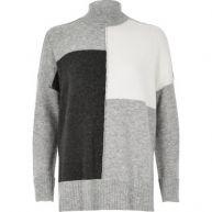 Grijze pullover met col en kleurvlakken