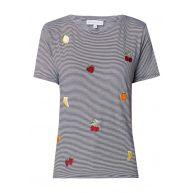 Warehouse Gestreept T-shirt met geborduurde vruchten