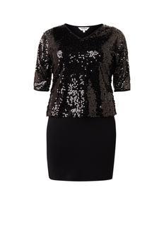 Lottie mini-jurk met overlay van pailletten