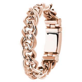 Stalen armband met schakel roseplated