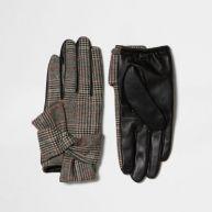 Bruine vintage geruite handschoenen van imitatieleer