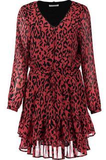 Jurk Rood Georgia leopard