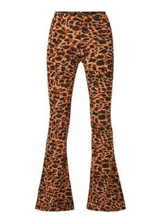 High rise flared fit broek met luipaarddessin