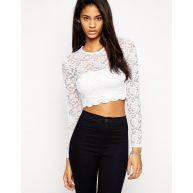 ASOS Cropped Top With Long Sleeves In All Over Lace