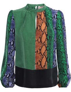2s2299-10978 120 top snake cupro multicolour groen
