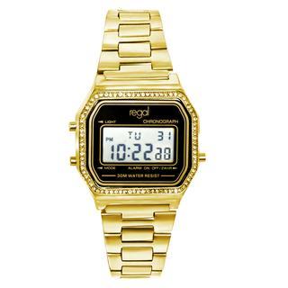 digitaal horloge met een goudkleurige band