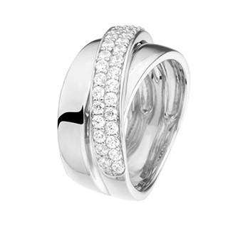 Klaring 100% Authentiek It'S Beautiful Brede gepolijst ring met diagonale strook zirkonia's zilver Naar Goedkope Verkoop 2018 Verkoop Warm Te Koop verzamelingen eqimNA